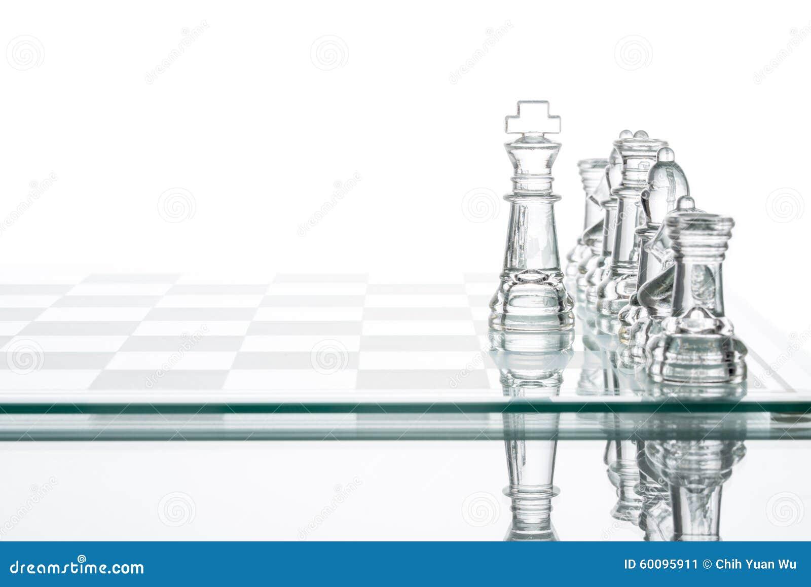 Opción del negocio de la estrategia corporativa, grou de cristal transparente del ajedrez