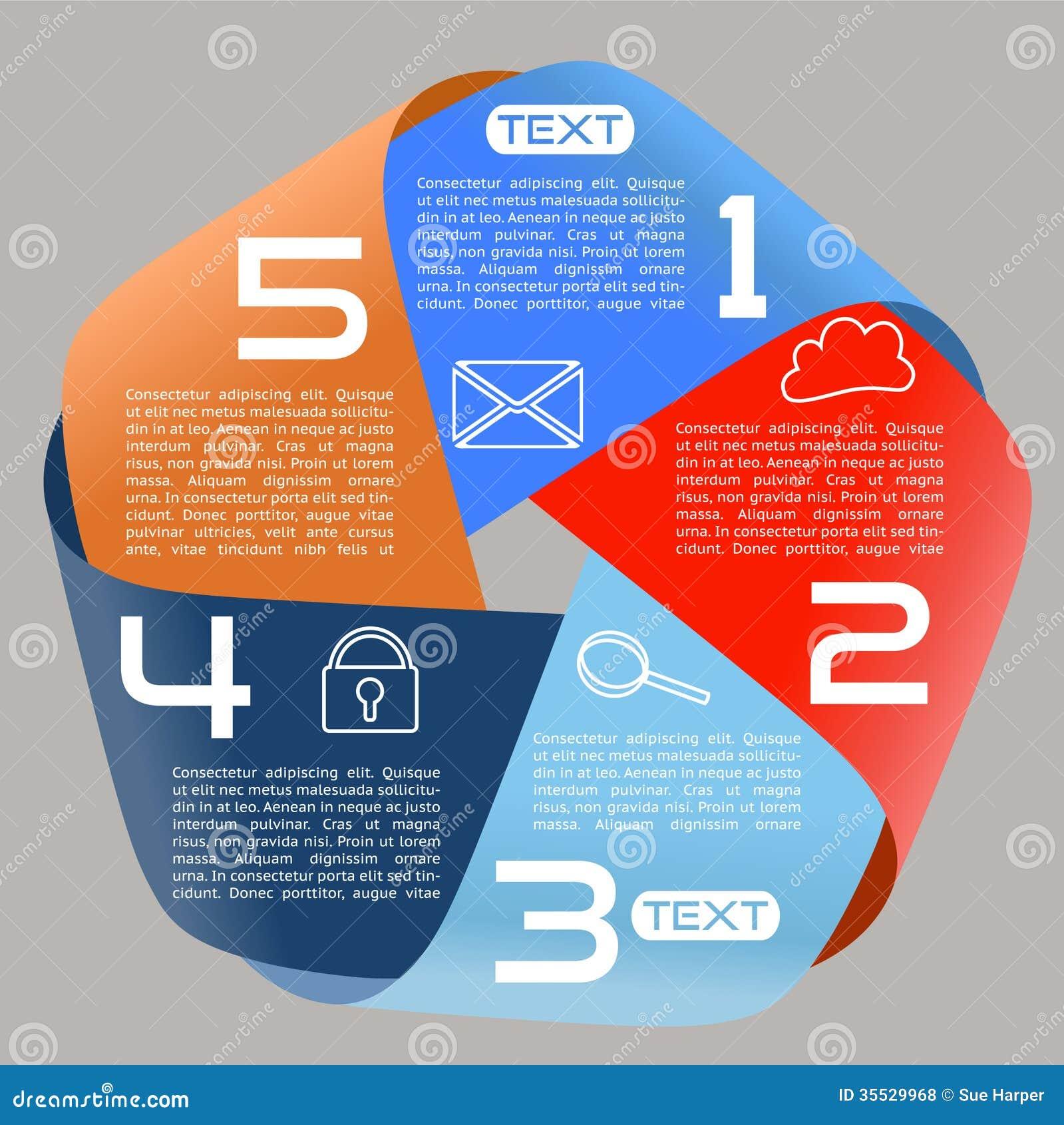 Opciones brillantes de la cinta infinita de las opciones de Infographics cinco de par en par