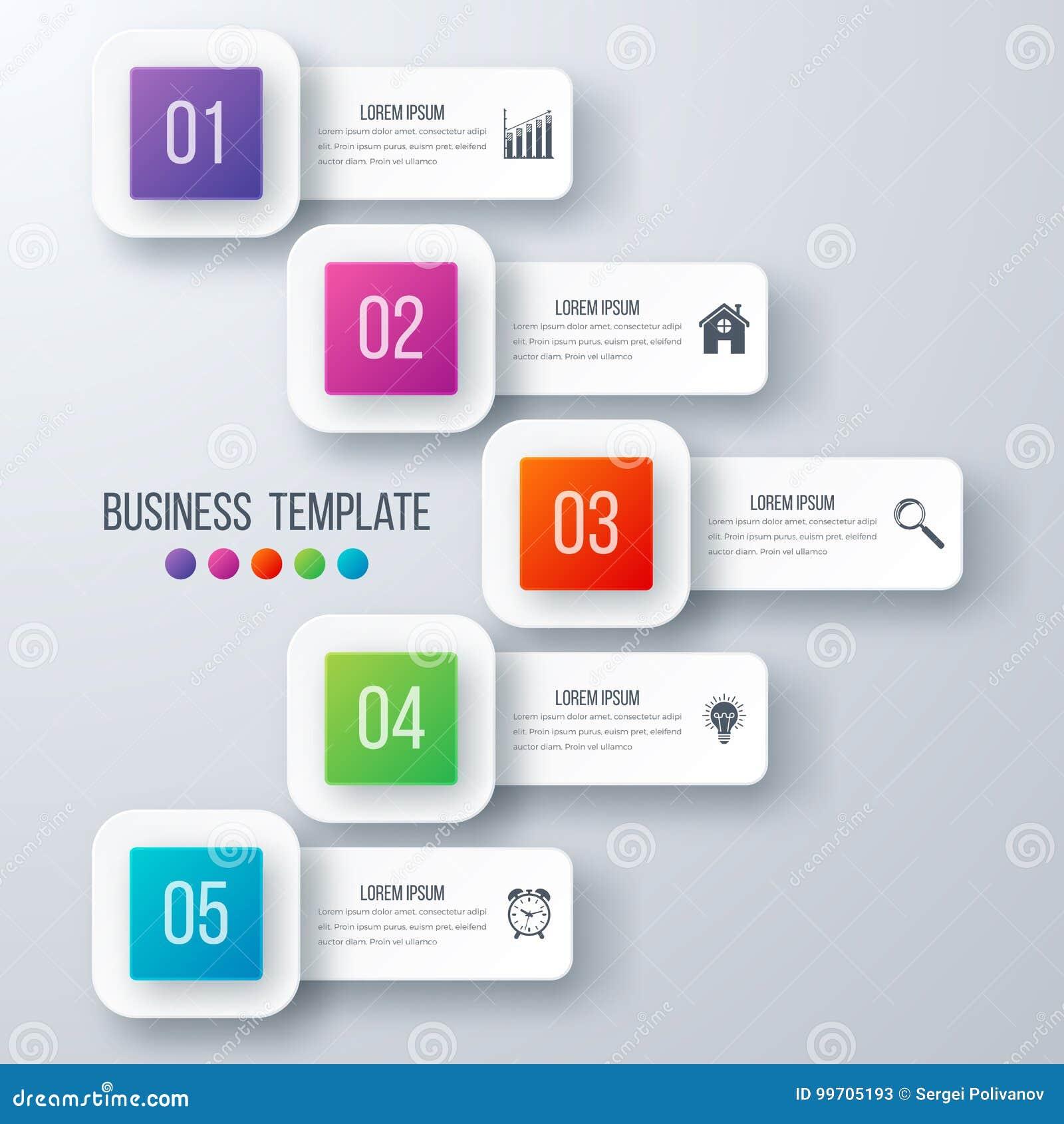 Opciones de la plantilla 5 de Infographics con el cuadrado