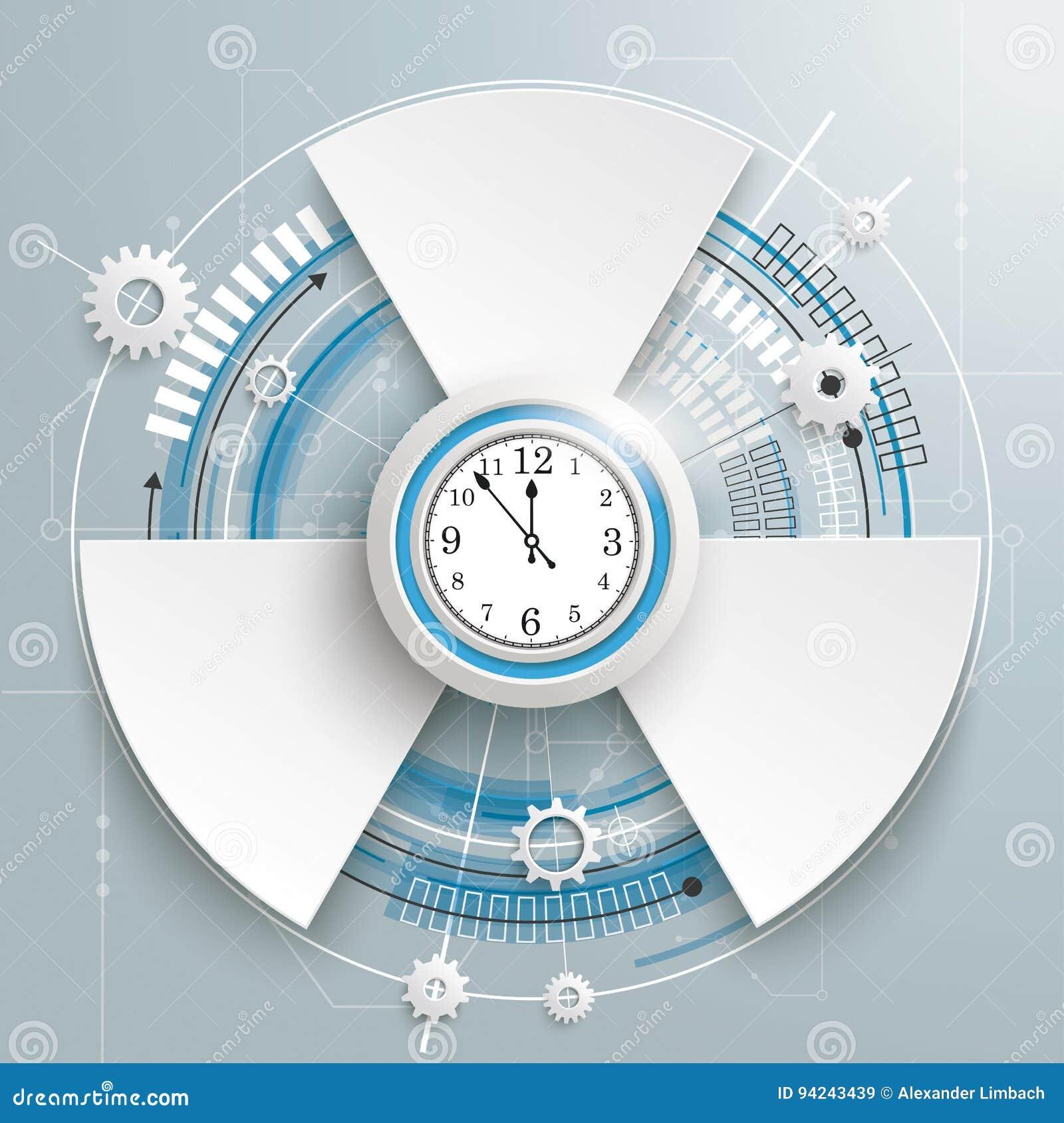 Opciones futuristas de la placa de circuito 3 del reloj de la construcción del engranaje