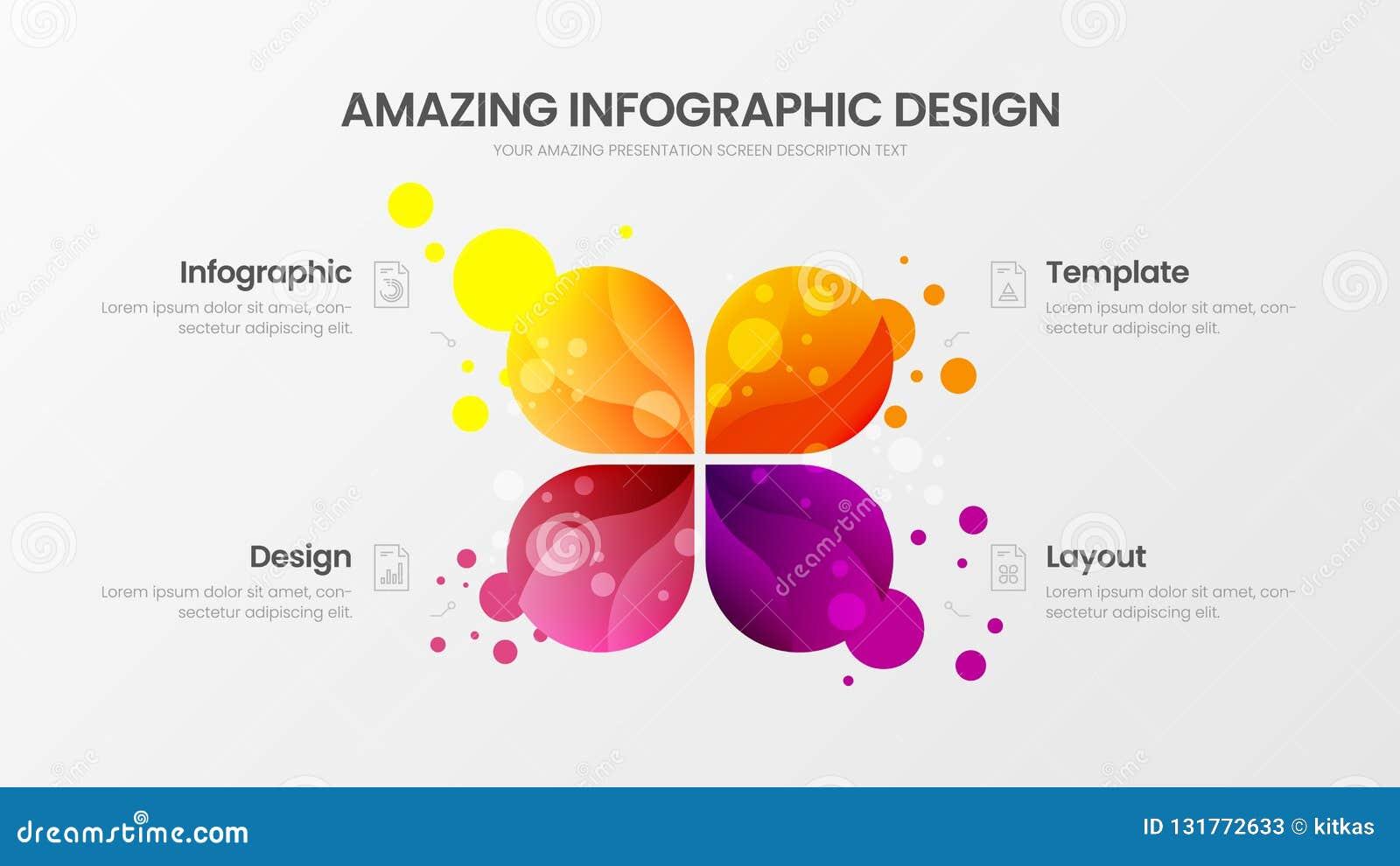 4 opcji marketingowych analityka wektorowy ilustracyjny szablon Biznesowych dane projekta układ