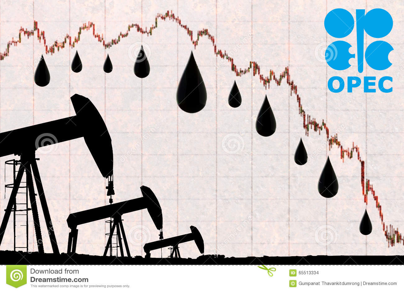 OPEC logo, olej krople i sylwetki nafcianej pompy przemysłowa dźwigarka,