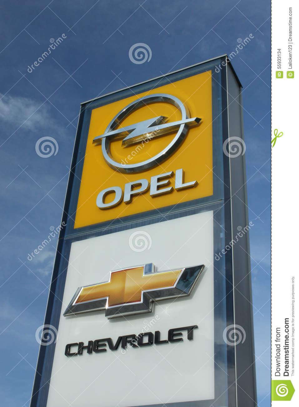 opel and chevrolet pylon editorial stock image image of both 55933134. Black Bedroom Furniture Sets. Home Design Ideas