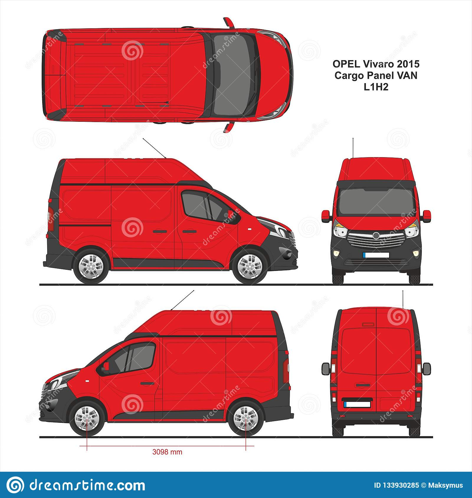 4322e5cdf7 Opel Vivaro Cargo Panel Van L1H2 Swing Rear Door 2015 detailed template for  design and production of vehicle wraps scale 1 to 10