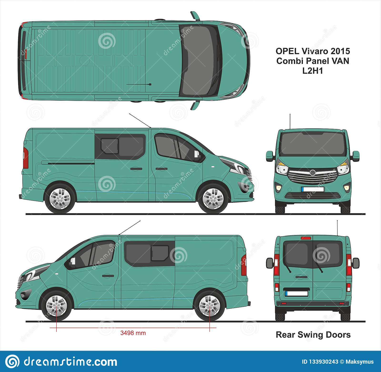 fd966c58e8 Opel Vivaro Combi Panel Van L2H1 Swing Rear Door 2015 detailed template for  design and production of vehicle wraps scale 1 to 10