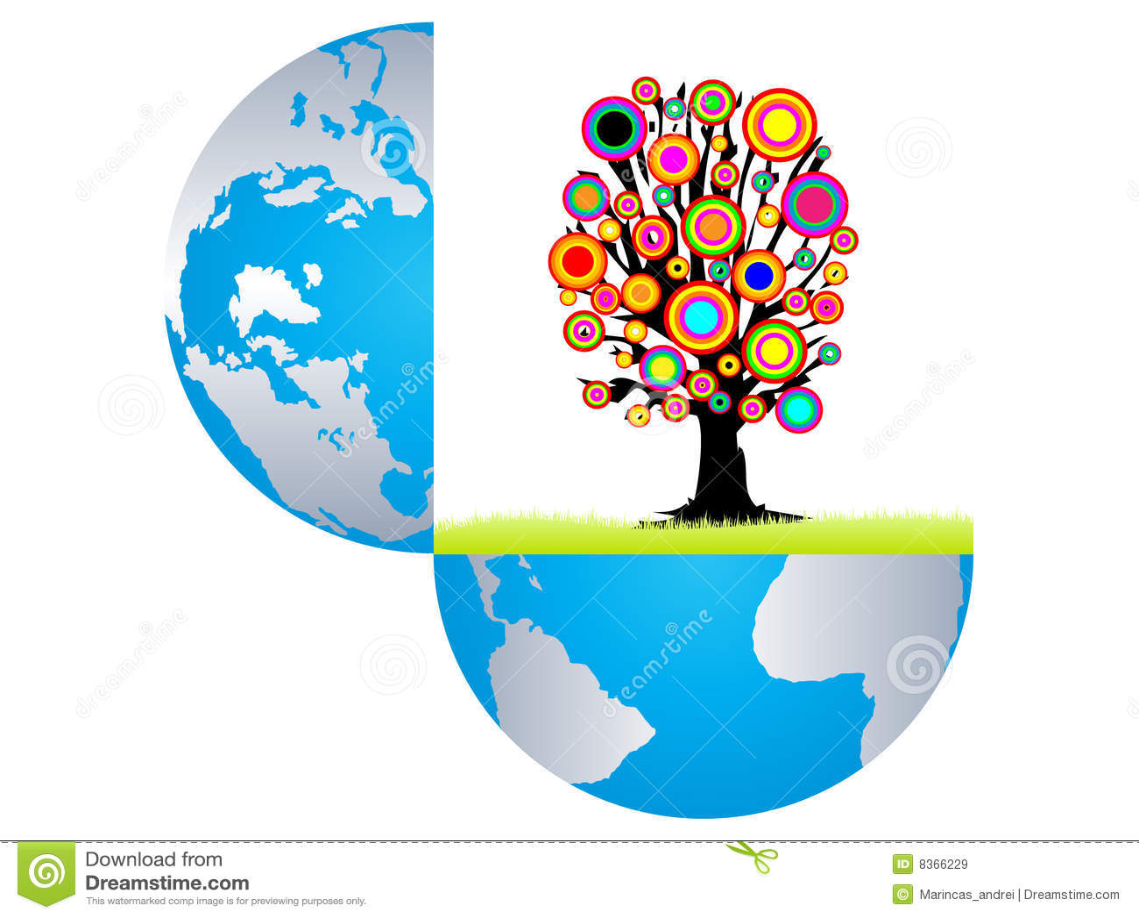 Open aarde witn kleurrijke boom binnen