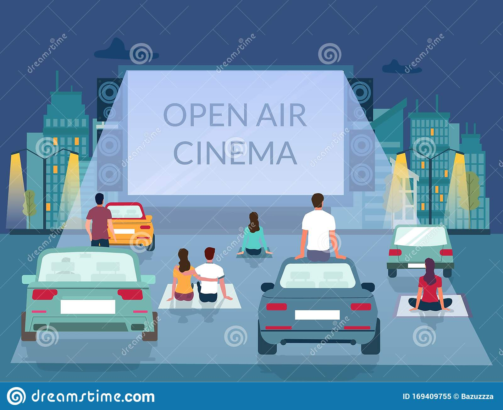 Open Air Cinema Vector Poster Design Template Stock Vector Illustration Of Auto Film 169409755