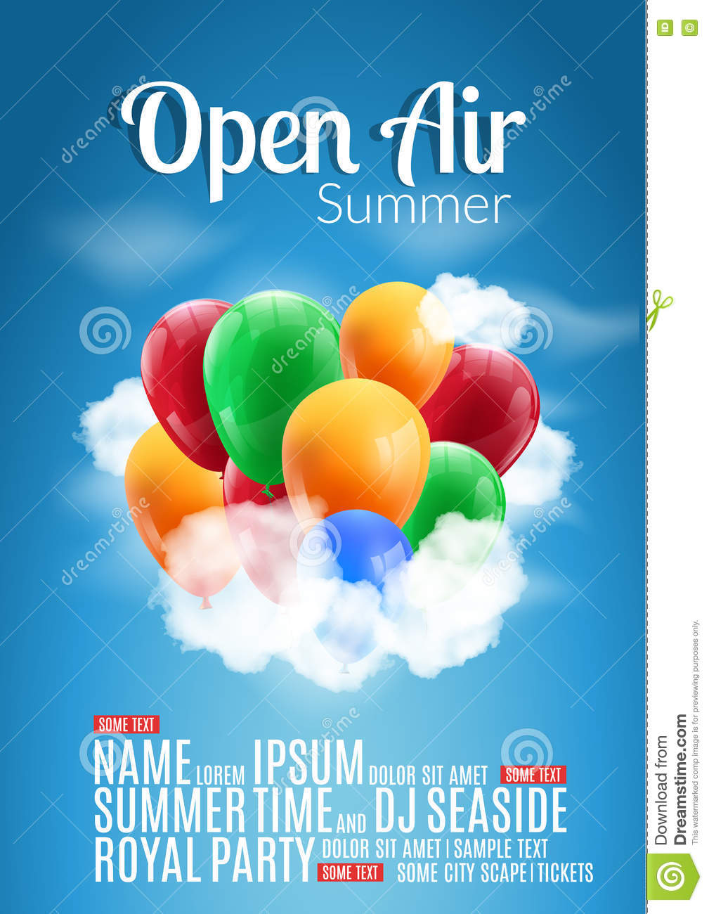 Poster design sample - Open Air Festival Party Poster Design Flyer Or Poster Template For Summer Open Air With Colorful Balloons