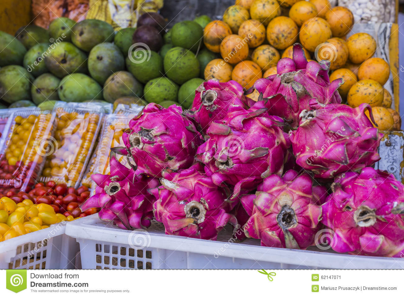 Open Air Fruit Market In The Village In Bali Indonesia Stock Image