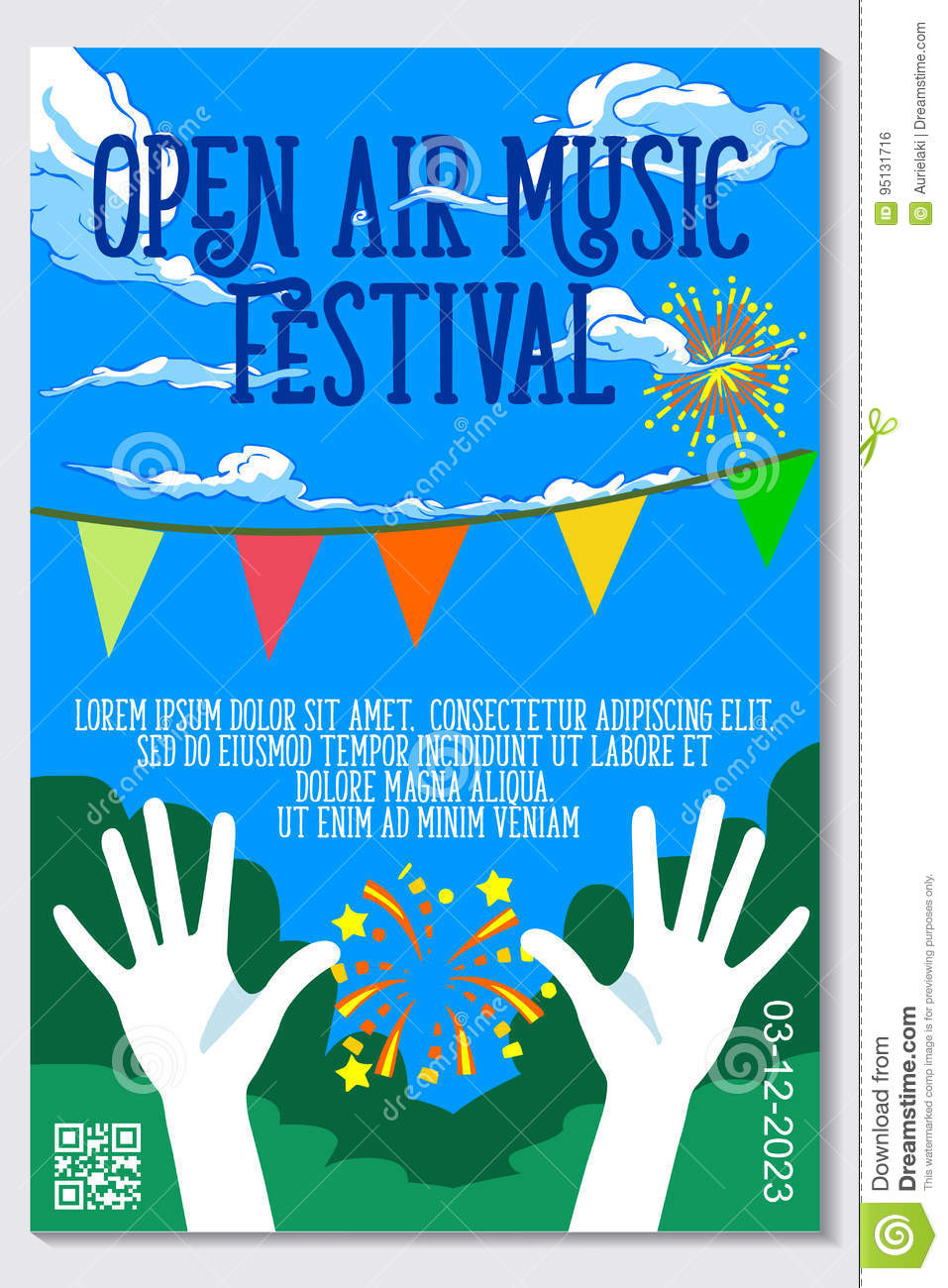 Open Air Music Festival Live Event Vector Poster Design Stock Vector