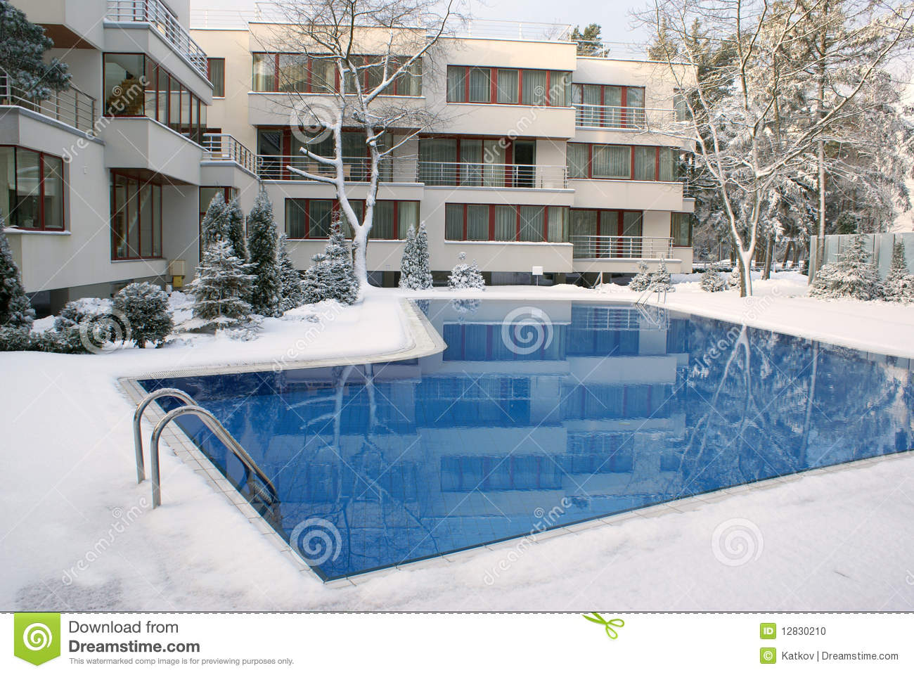 Open air swimming pool in winter stock photo image 12830210 - Opening a swimming pool after winter ...