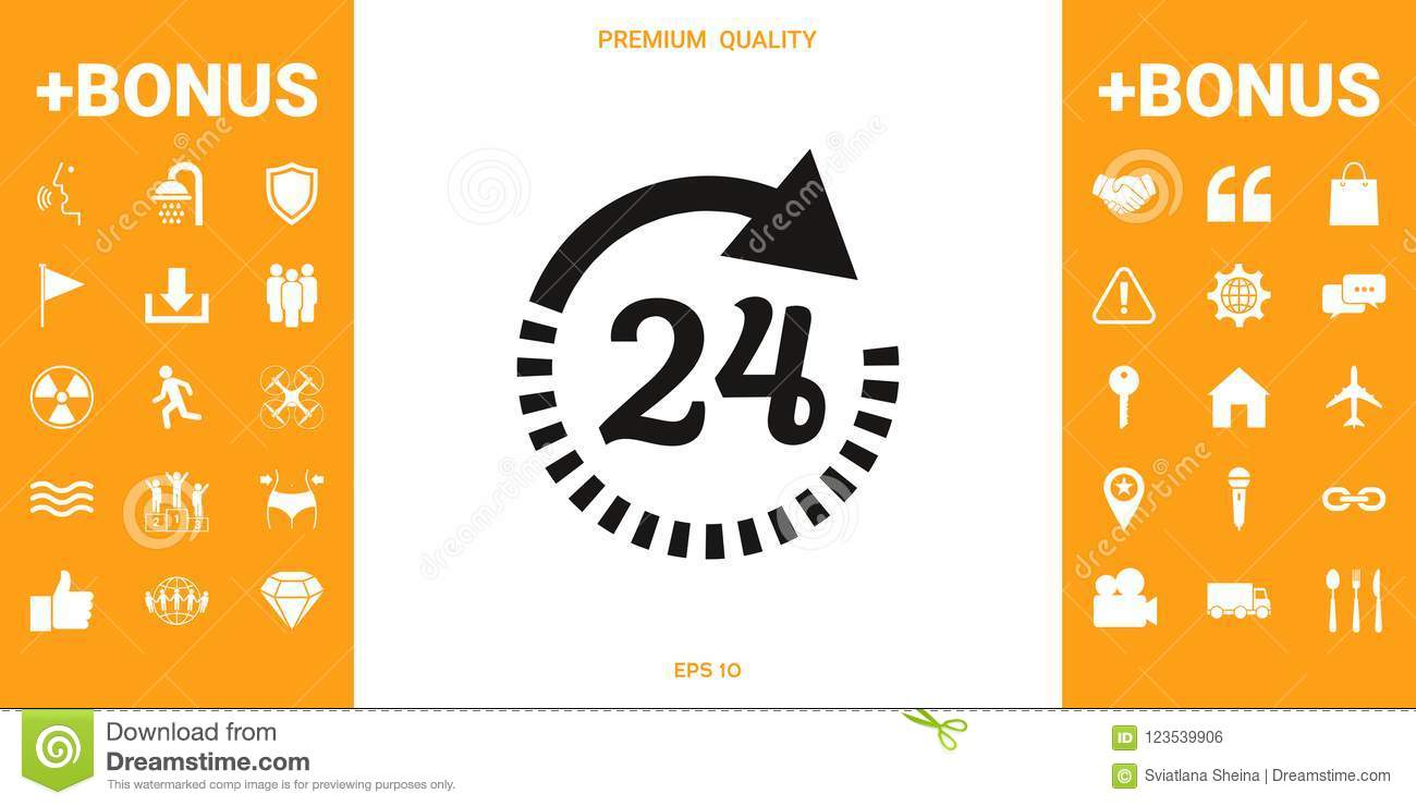 Open Around The Clock Symbol Icon Opening Hours Icon Stock Vector
