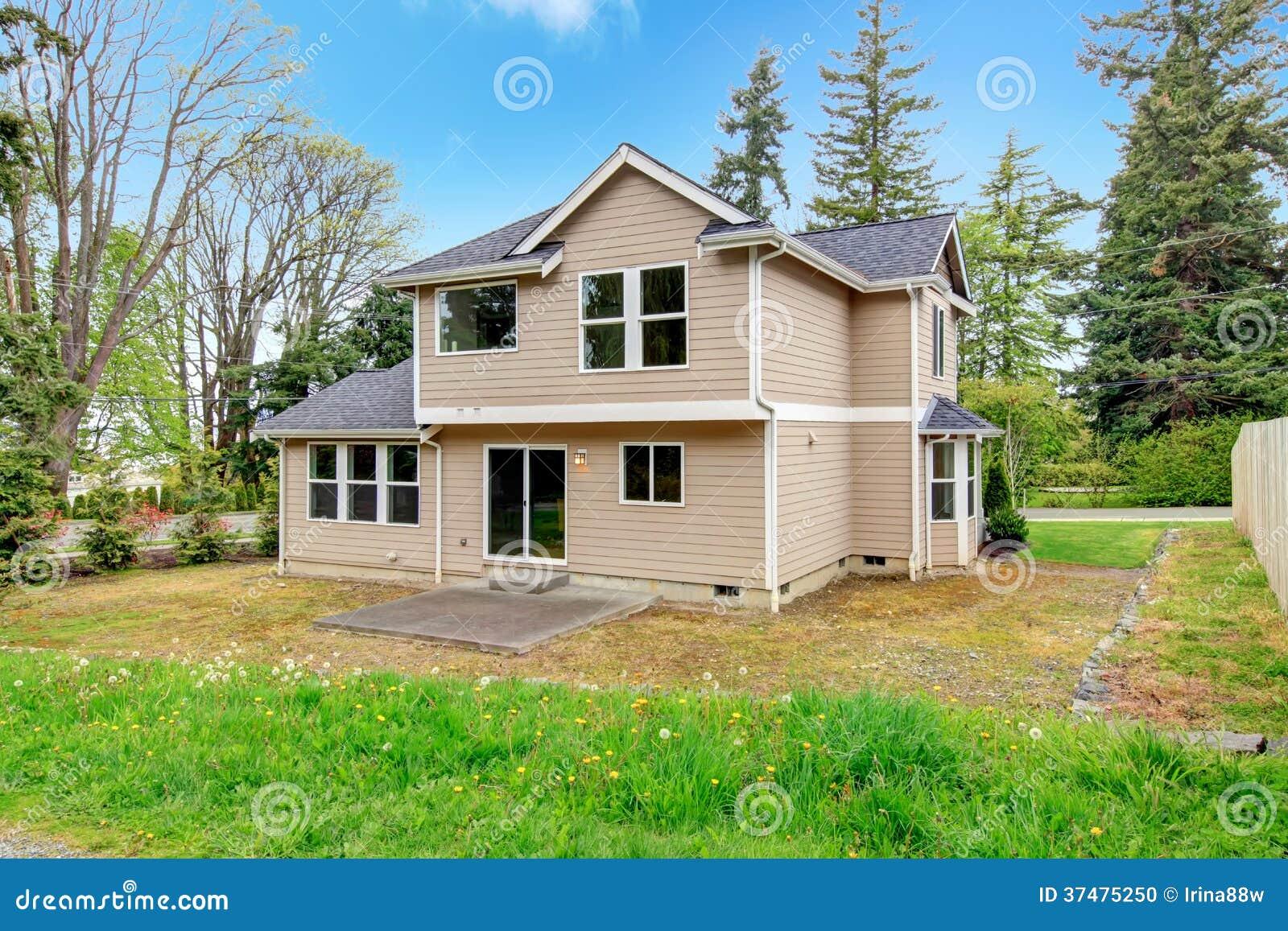 Open Backyard With Concrete Porch Stock Photo Image