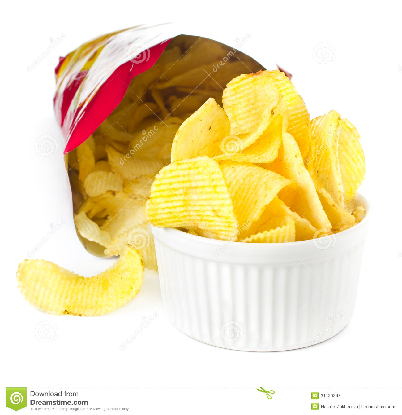 15612cdbd1 Open Bag With Potato Chips On White Background Stock Photo - Image ...