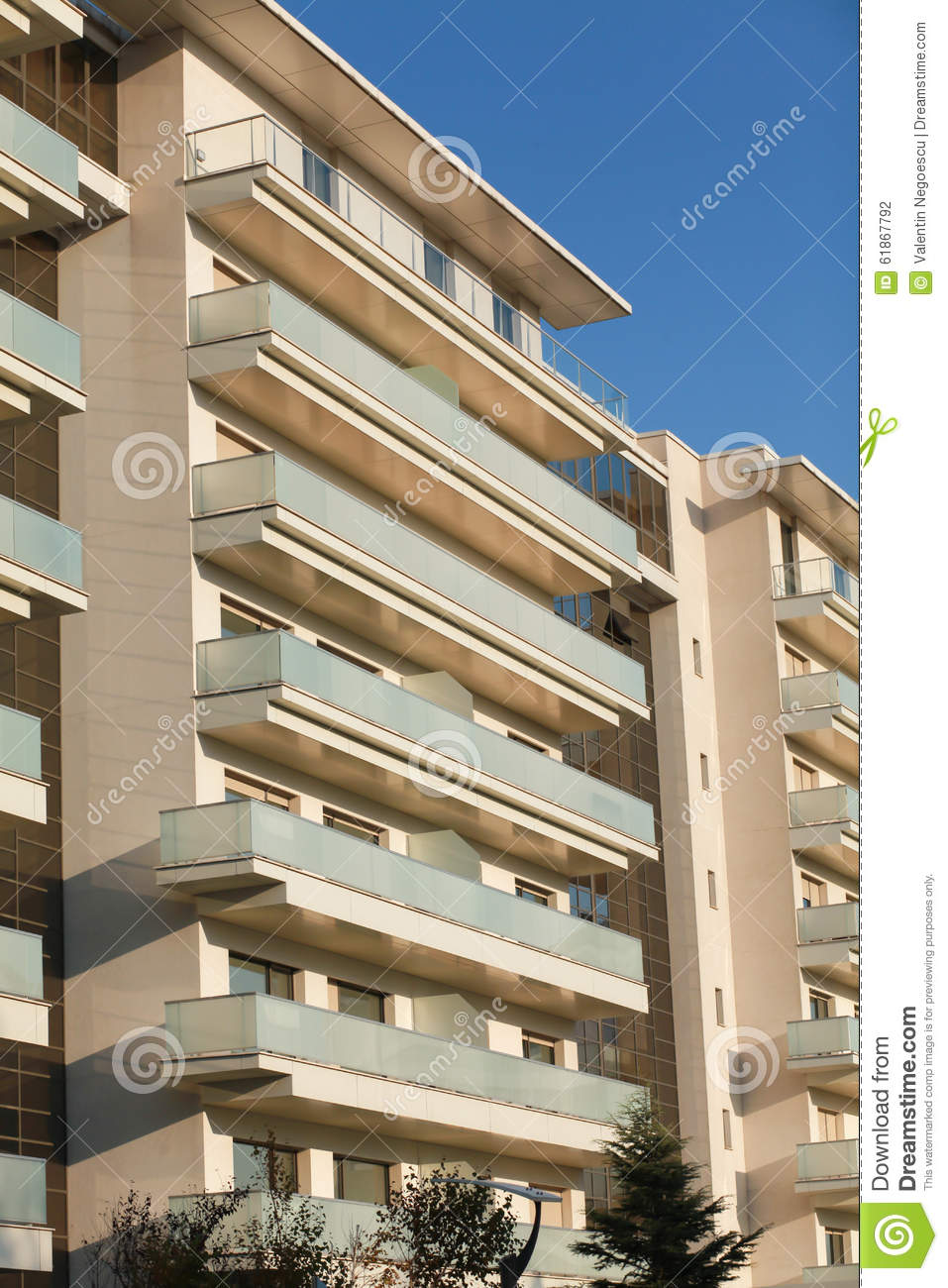 Open balconies modern apartment building stock photo for Balcony apartments
