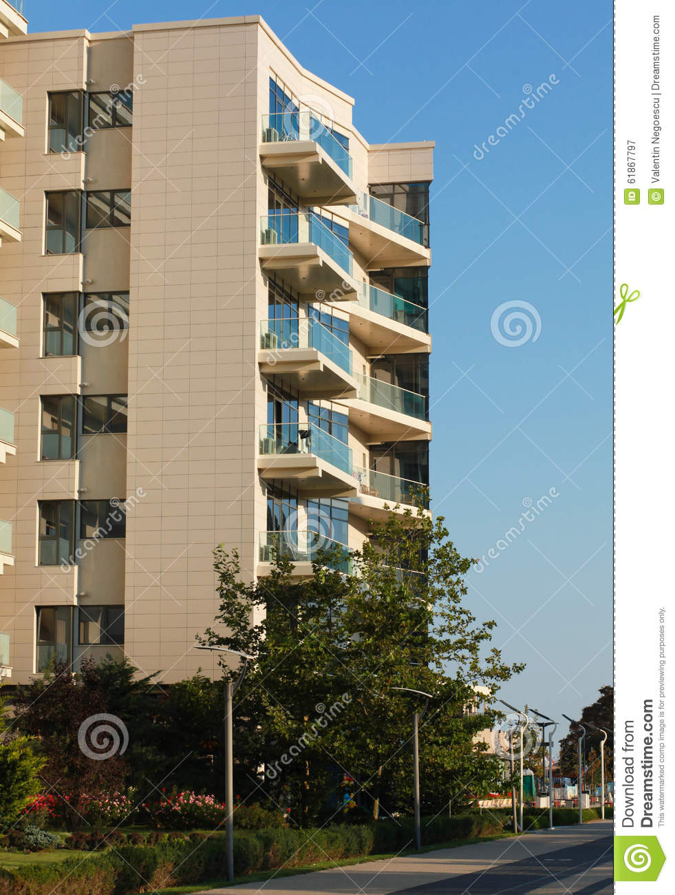 Open Balconies Modern Apartment Building Stock Image