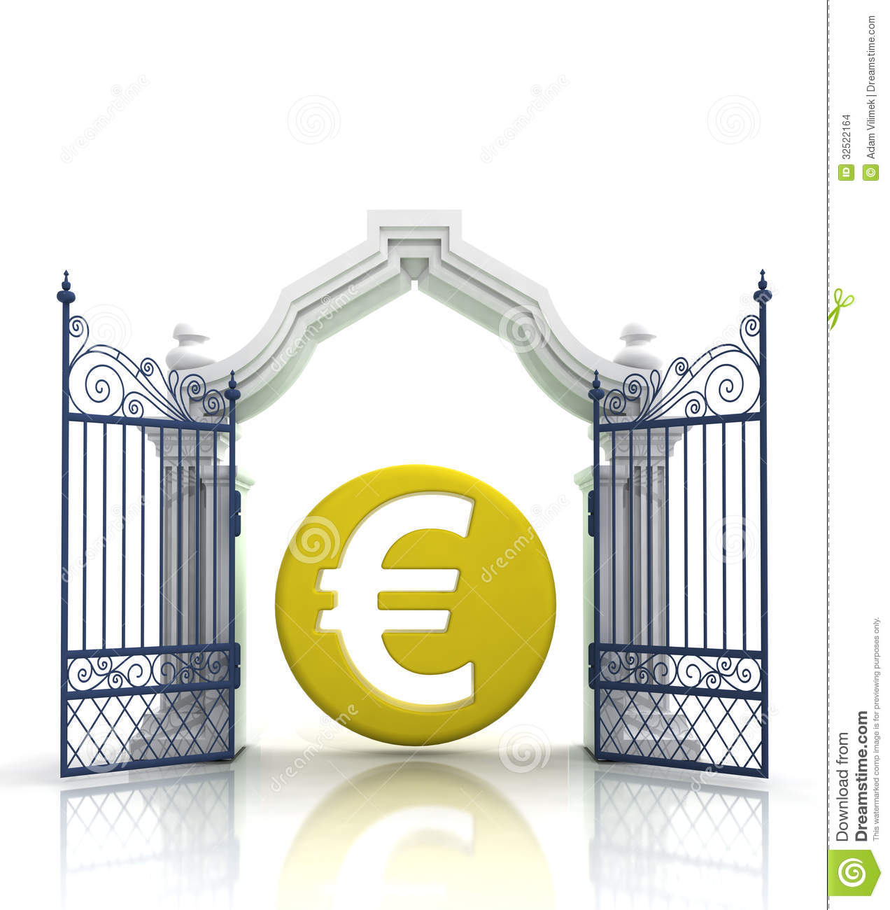 Open Baroque Gate With Euro Coin Stock Illustration Illustration