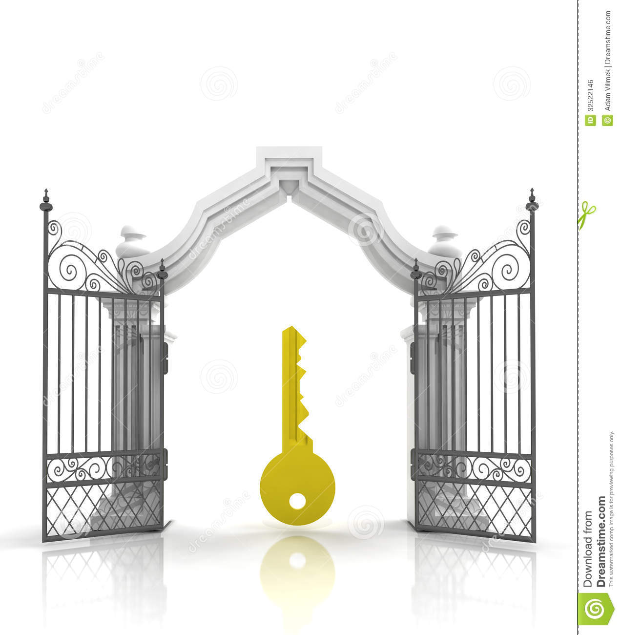 open baroque gate with golden key stock illustration illustration