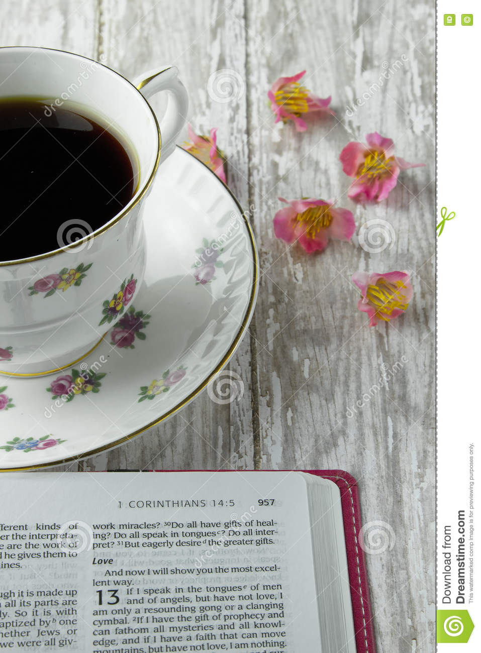 Open Bible With A Cup Of Coffee Or Tea Stock Image Image