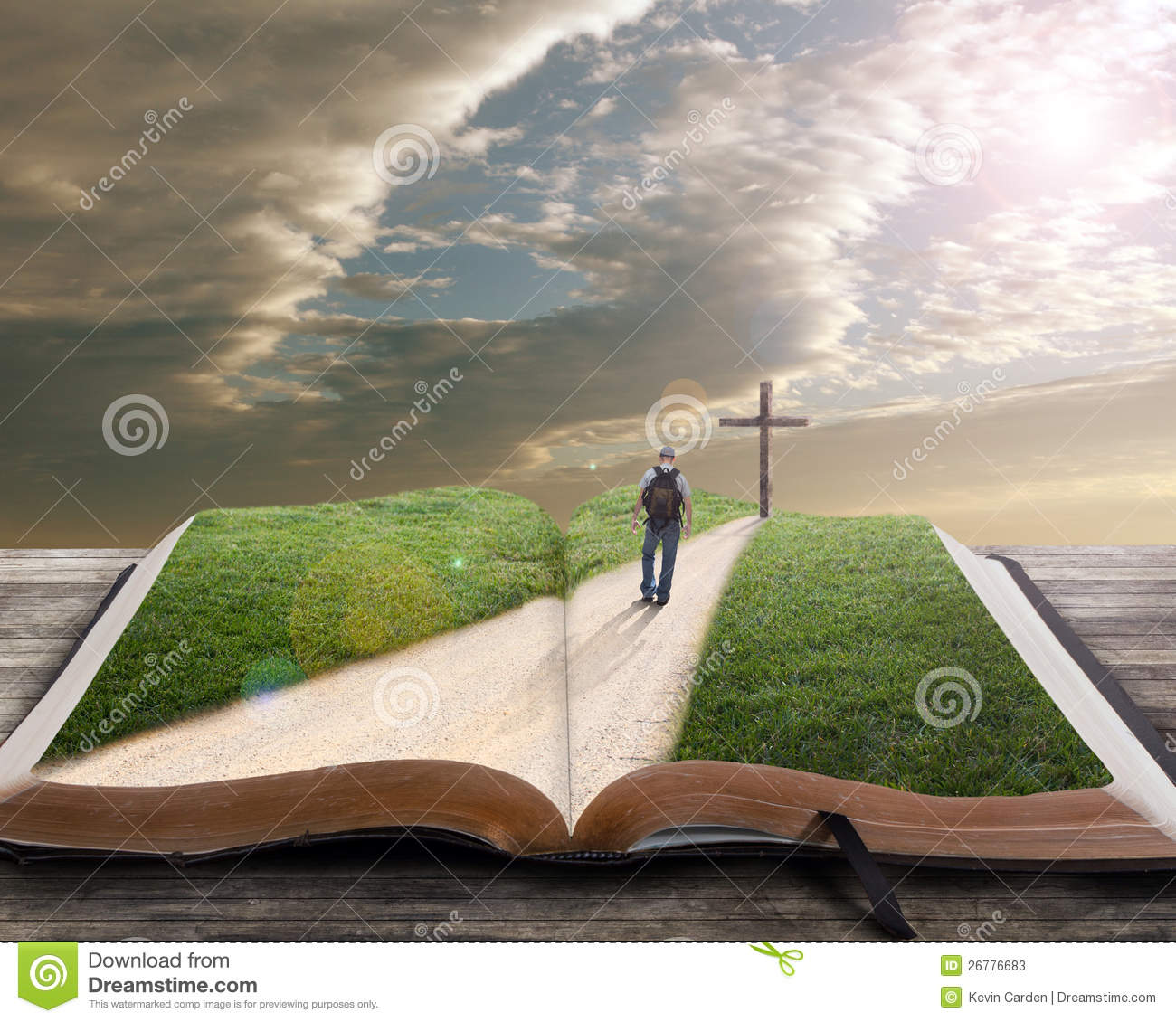 Open Bible With Man And Cross Stock Photos - Image: 26776683