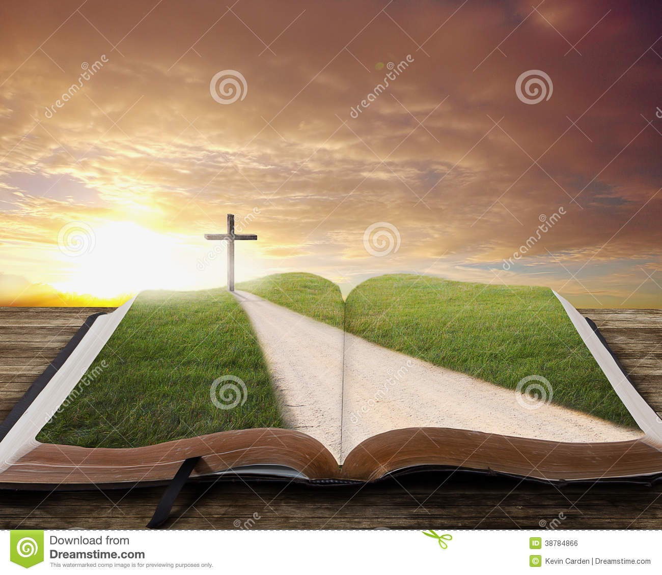 Open Bible With Road. Stock Photo - Image: 38784866