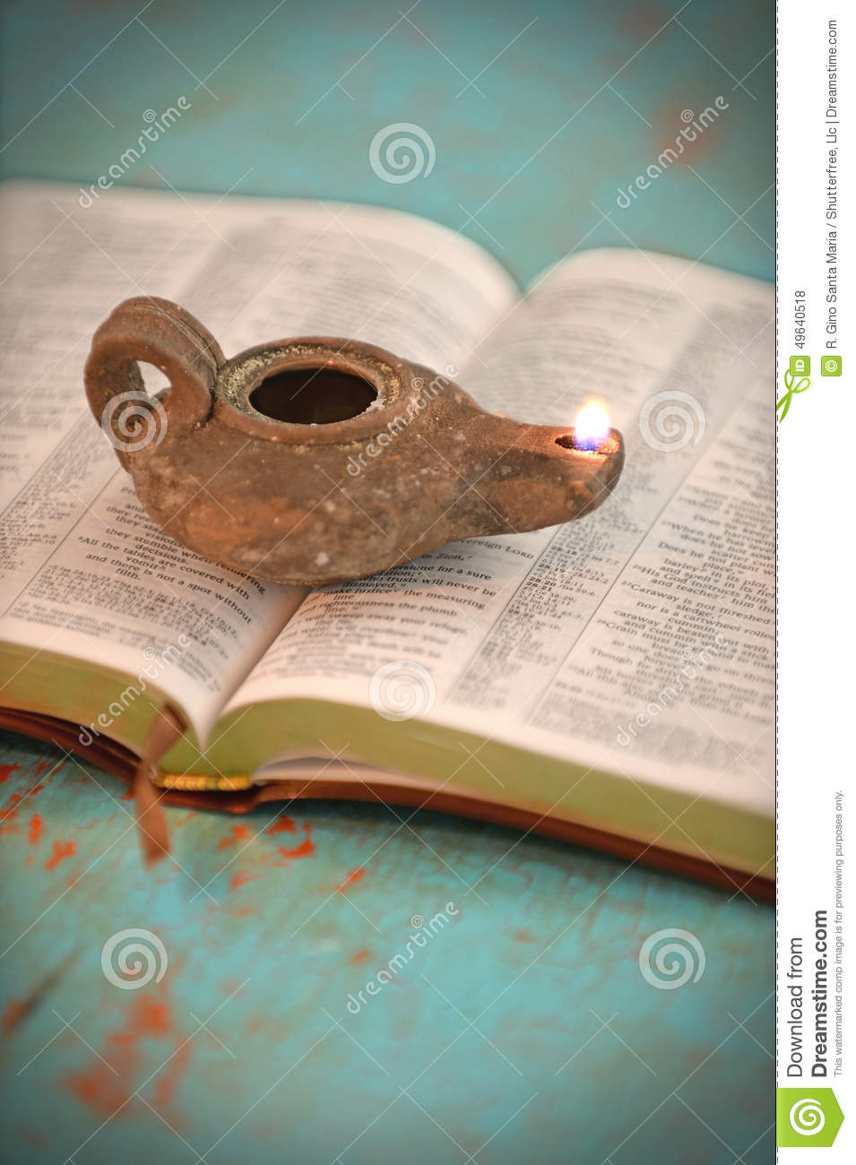 Open Bible And Vintage Lamp Stock Photo Image 49640518