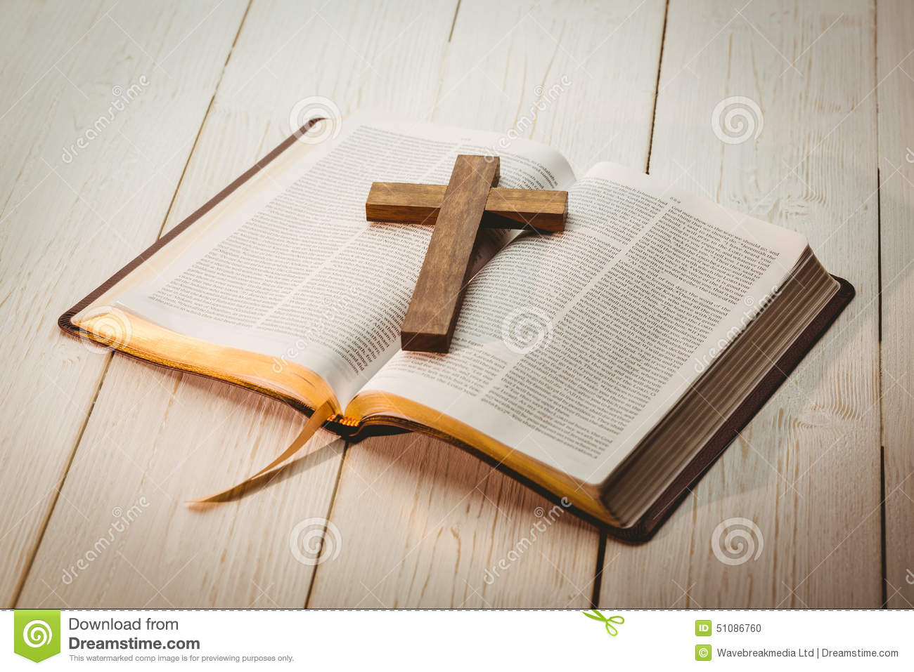 Open Bible And Wooden Cross Stock Photo - Image of