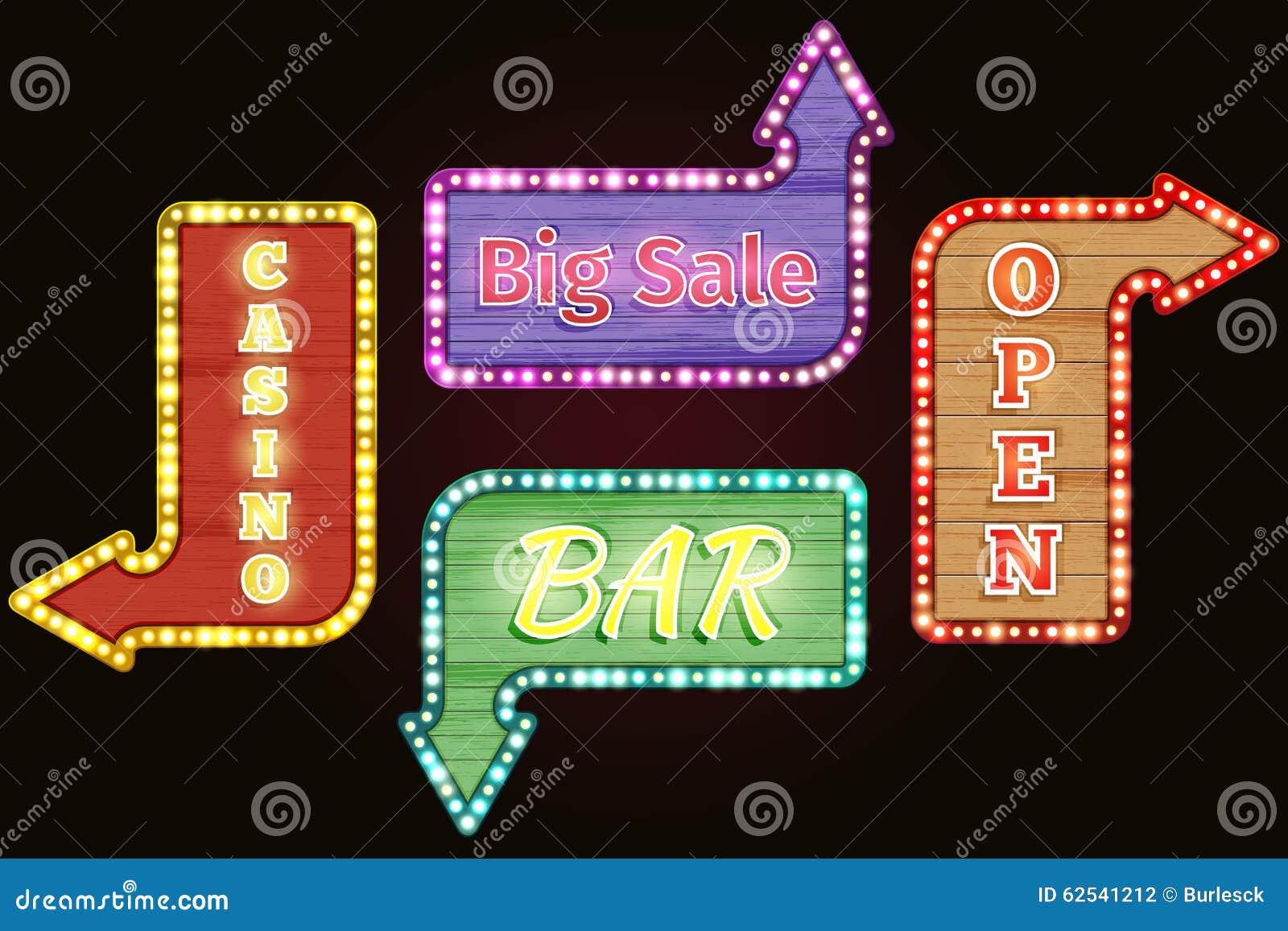 Open, Big Sale, Casino, Bar Retro Neon Signs Stock Vector