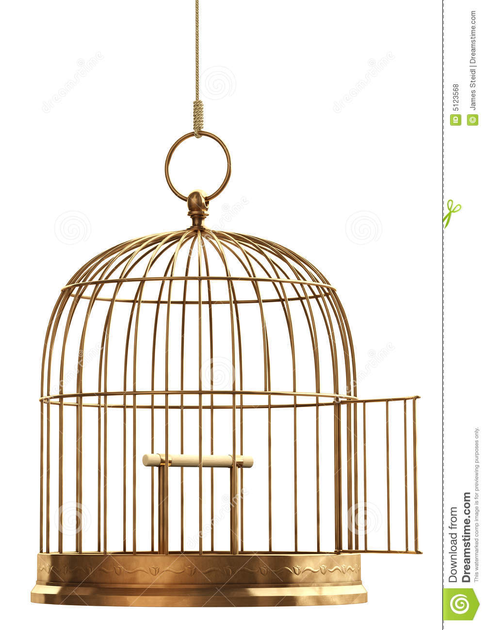 open bird cage stock photo image of brass empty. Black Bedroom Furniture Sets. Home Design Ideas