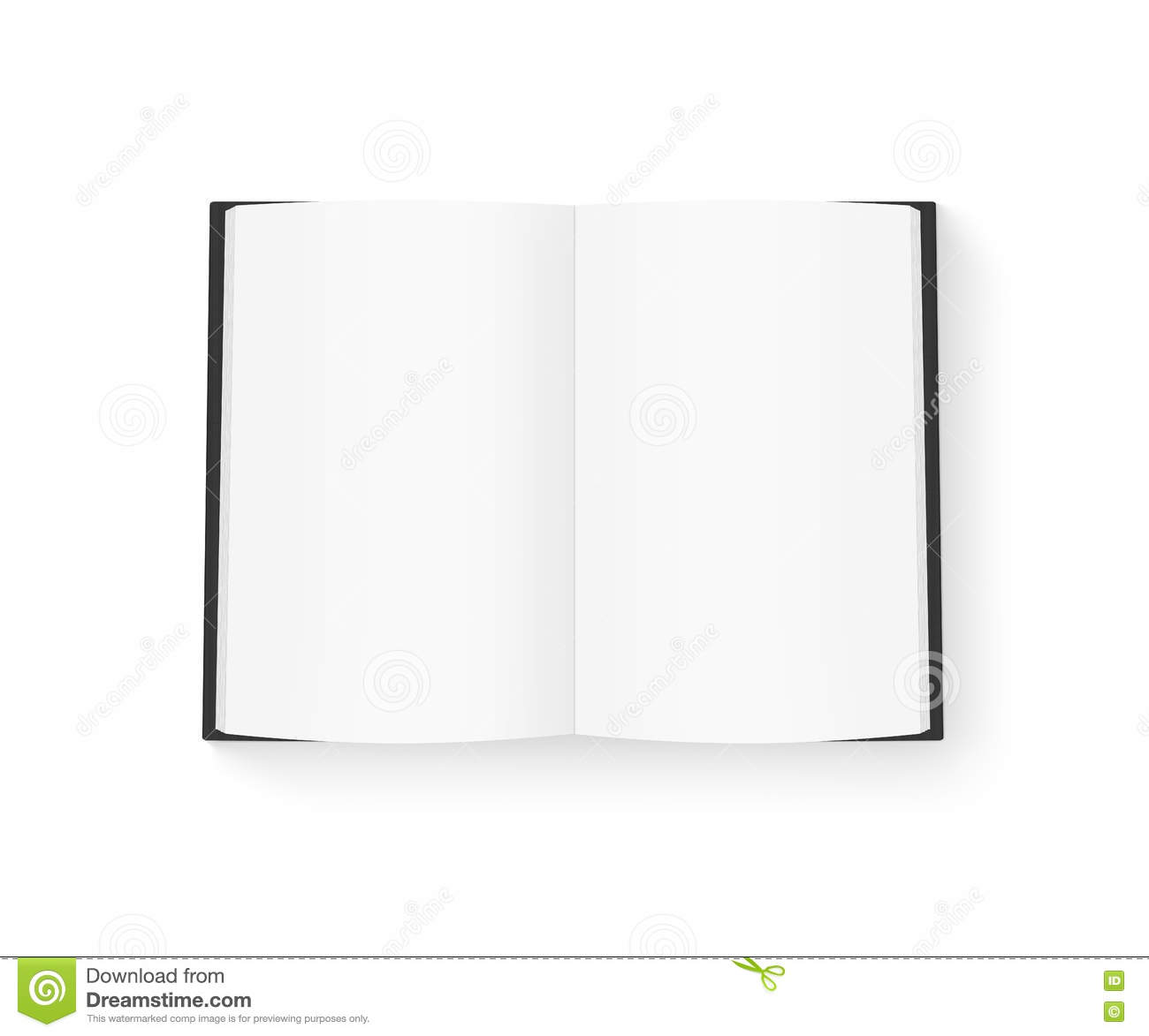 Open Book Cover Template : Open blank book mock up isolated on white black cover