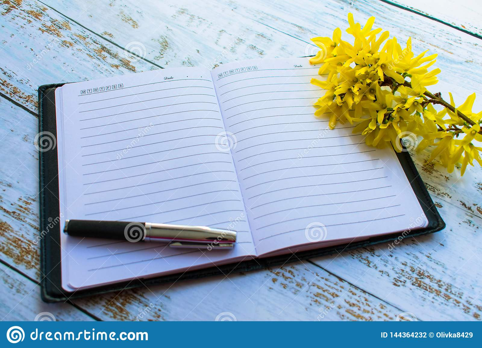 Open notebook on the table