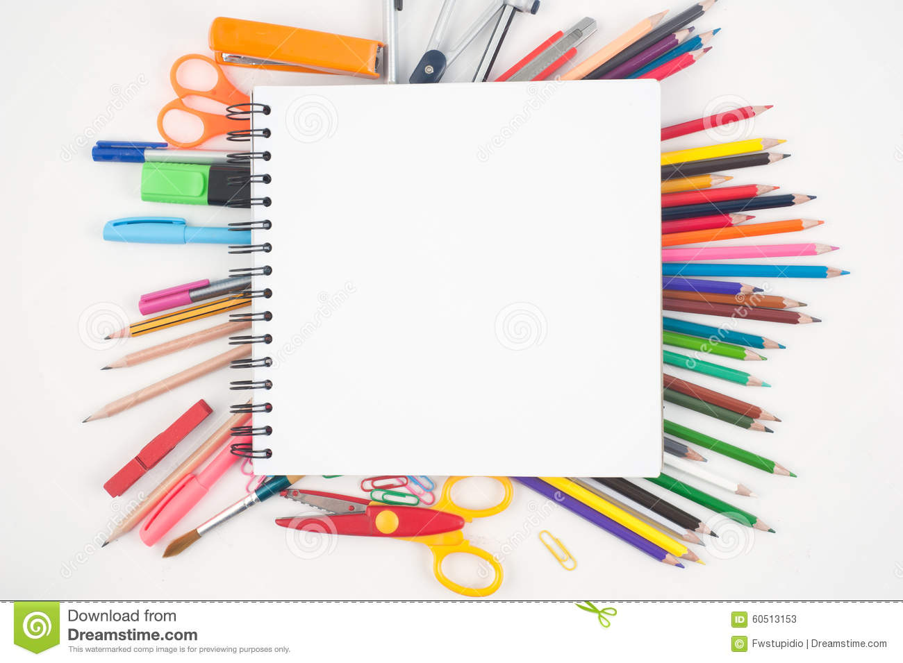 Open Blank Notebook And School Or Office Tools On White