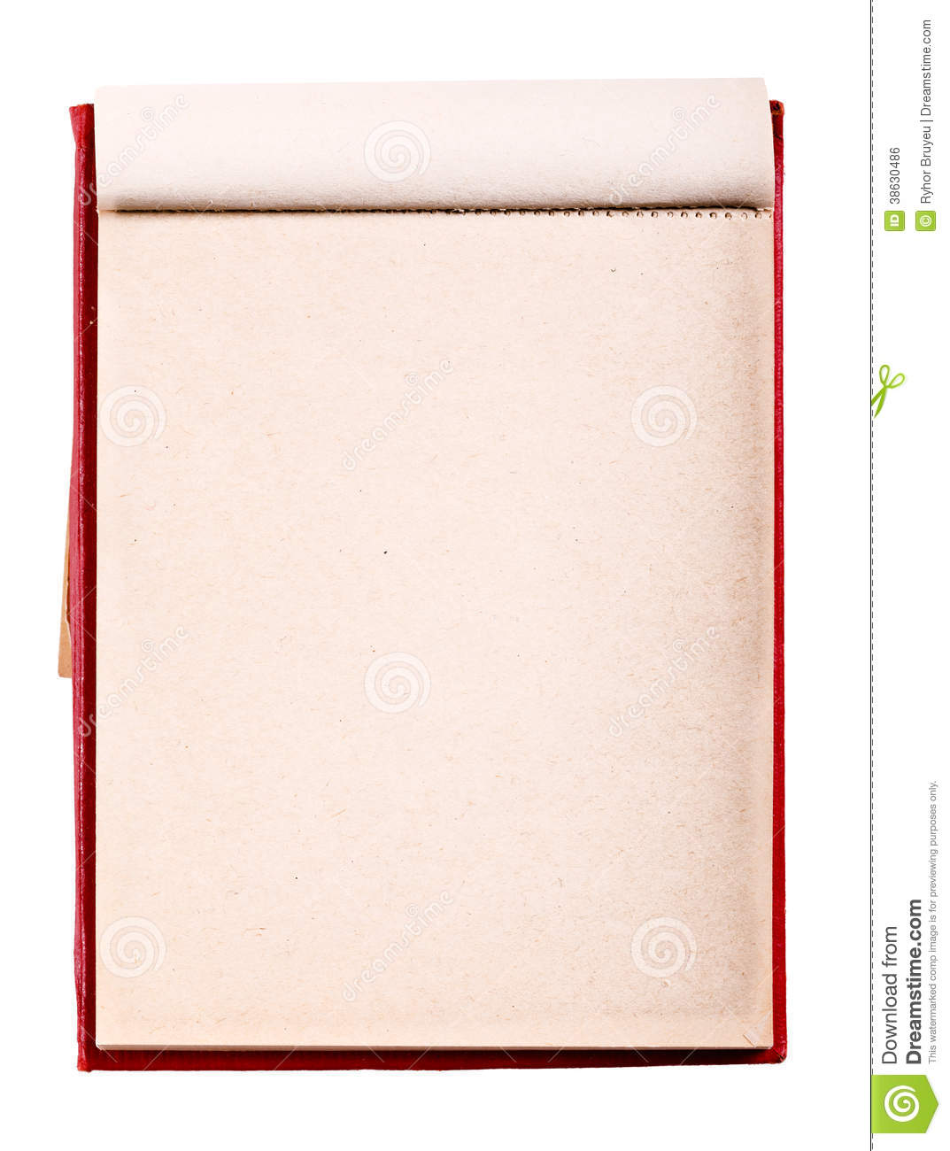 Open Blank Page Notebook Old Paper Notepad Stock Photo