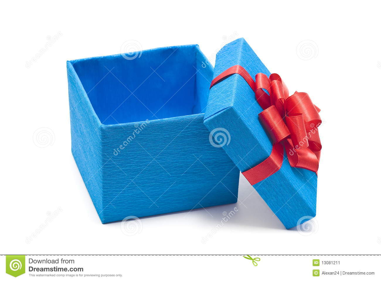 Open Blue Gift Box With Red Bow Stock Image - Image: 13081211