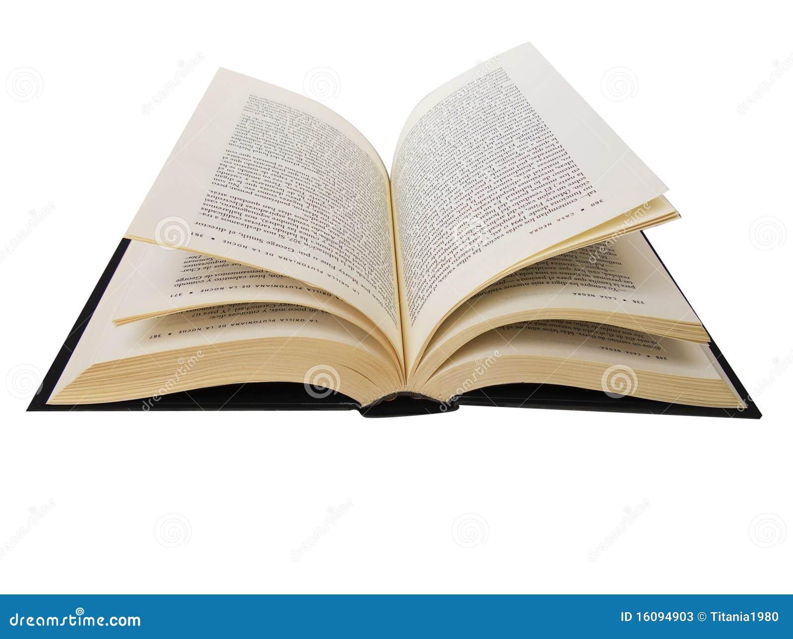 Open boek dat in wit wordt geïsoleerdt