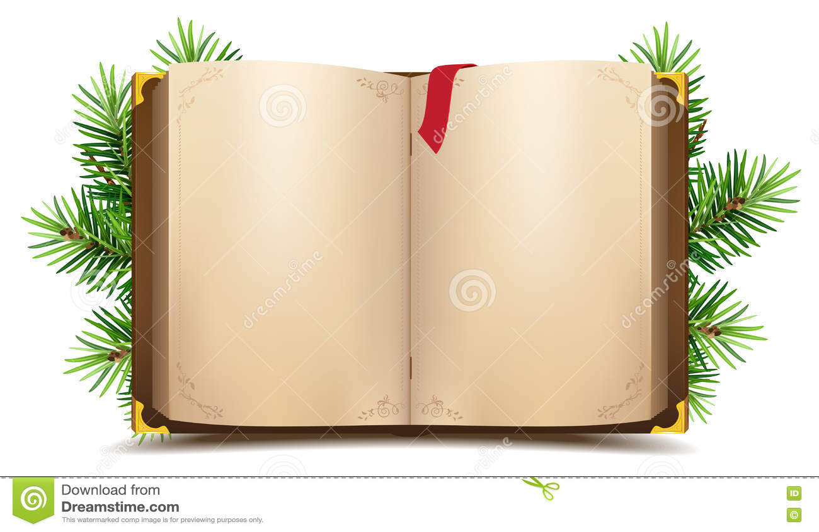 Open boek met blanco pagina s en rode referentie De groene tak van de Kerstmispijnboom