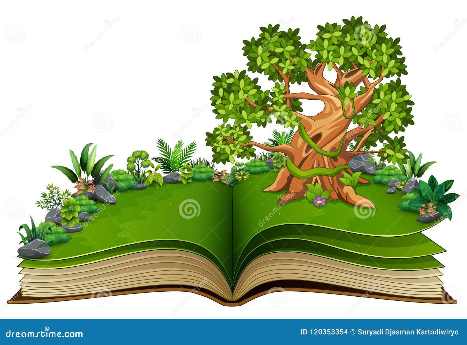 Open boek met dierenbeeldverhaal op de bomen
