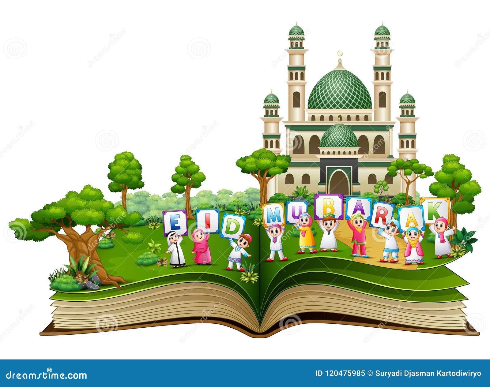 Open boek met gelukkige Islamitische jonge geitjes die brieven houden en Eid Mubarak voor een moskee wensen