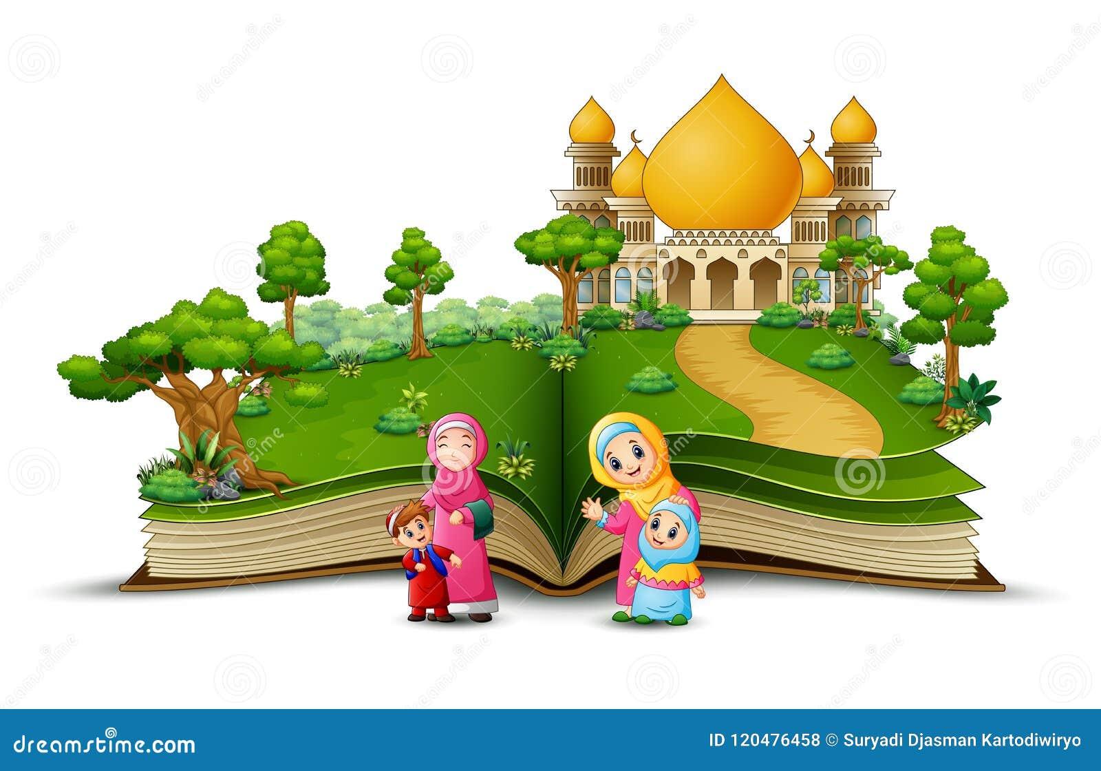 Open boek met groep gelukkige moslimvrouw en haar kinderen in de voorzijde van een moskee