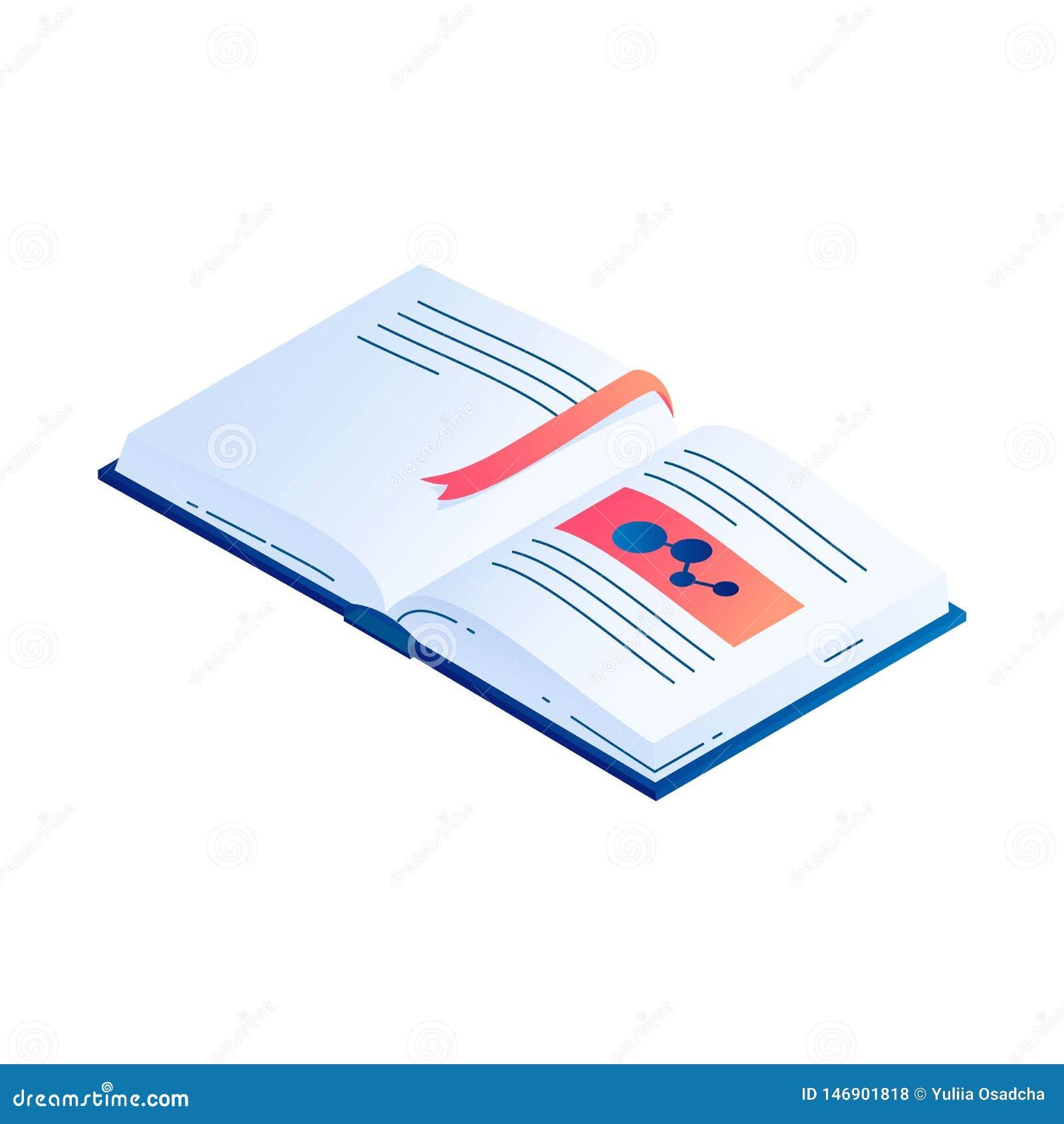 Open boek met referentie isometrische vectorillustratie