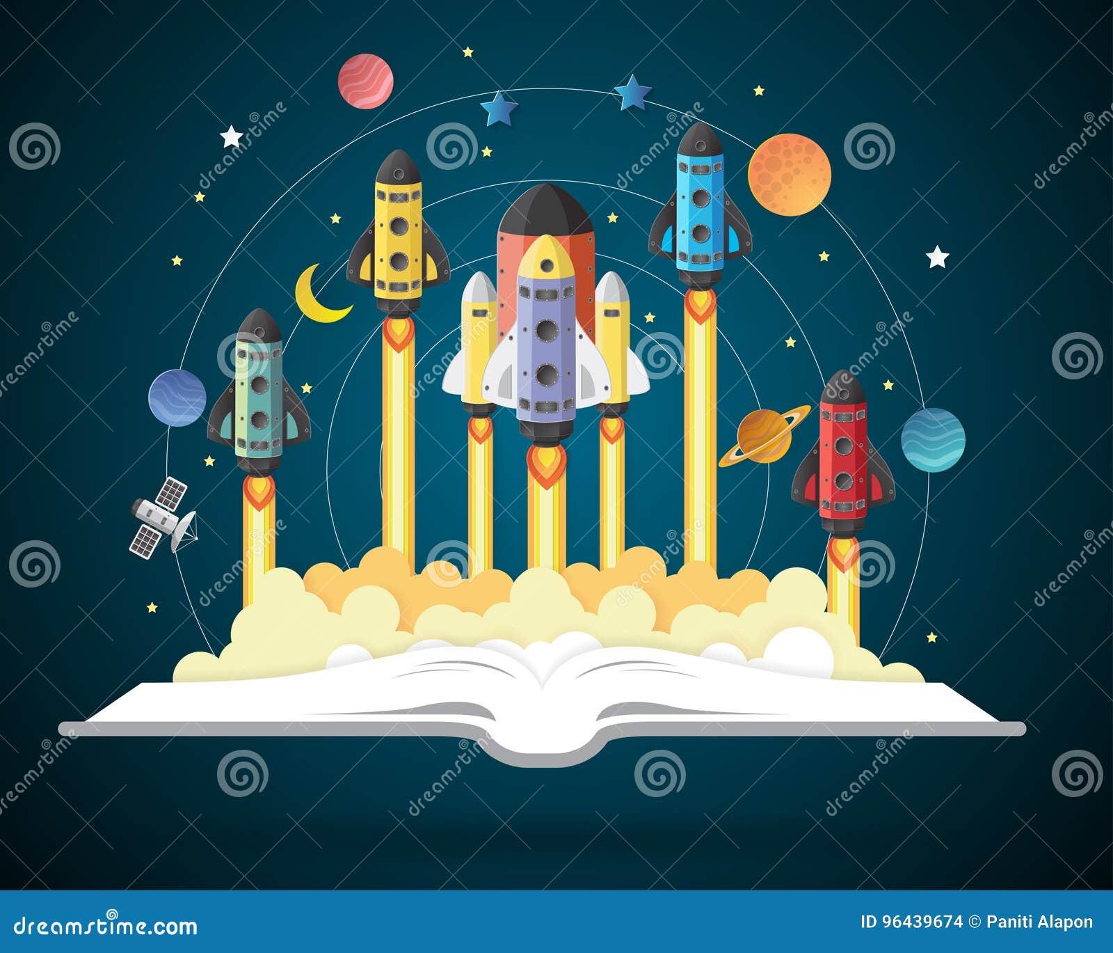 Open boek met zonnestelsel, ruimteveer, planeten, sterren
