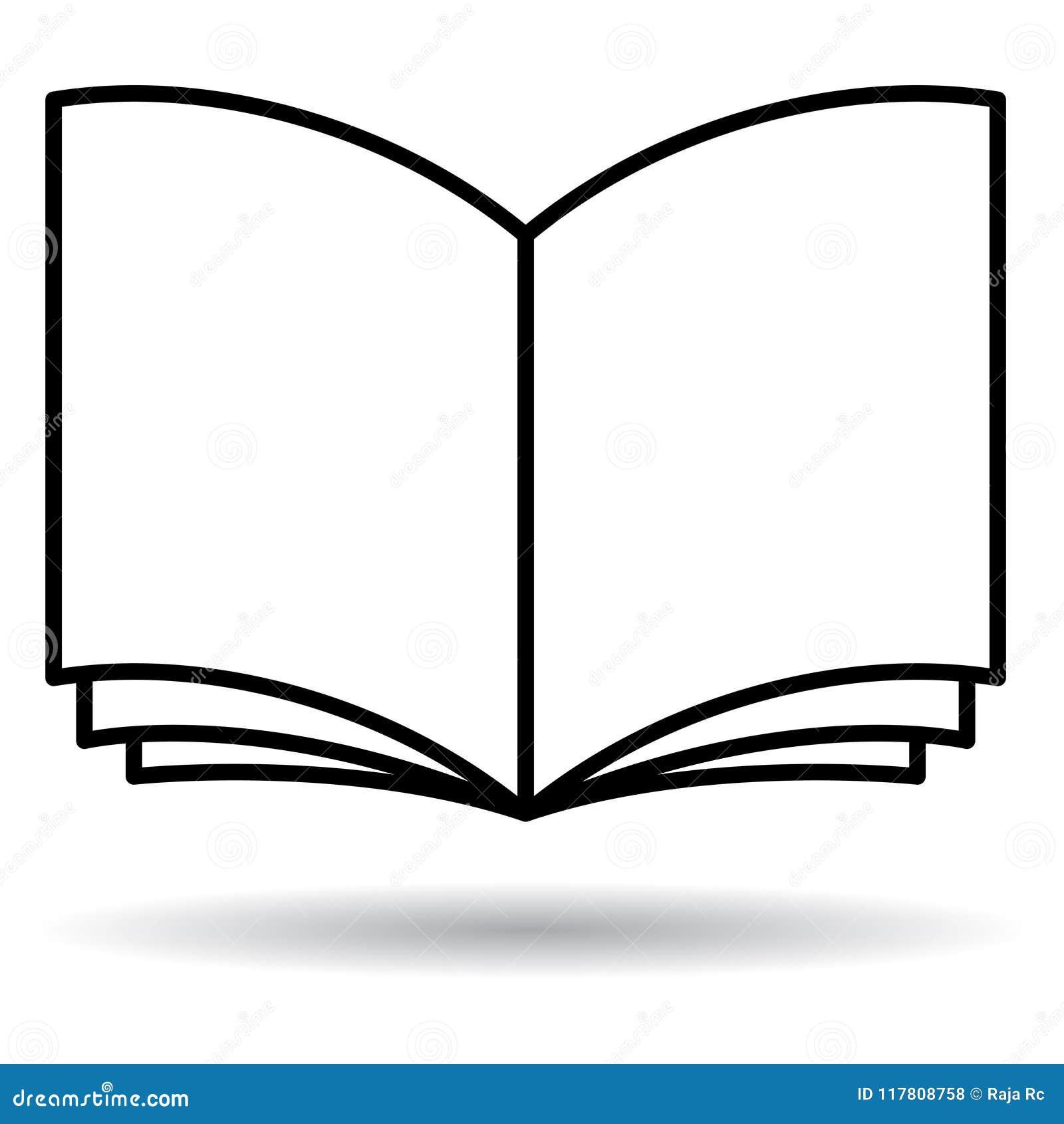 Open boek zwart-wit pictogram