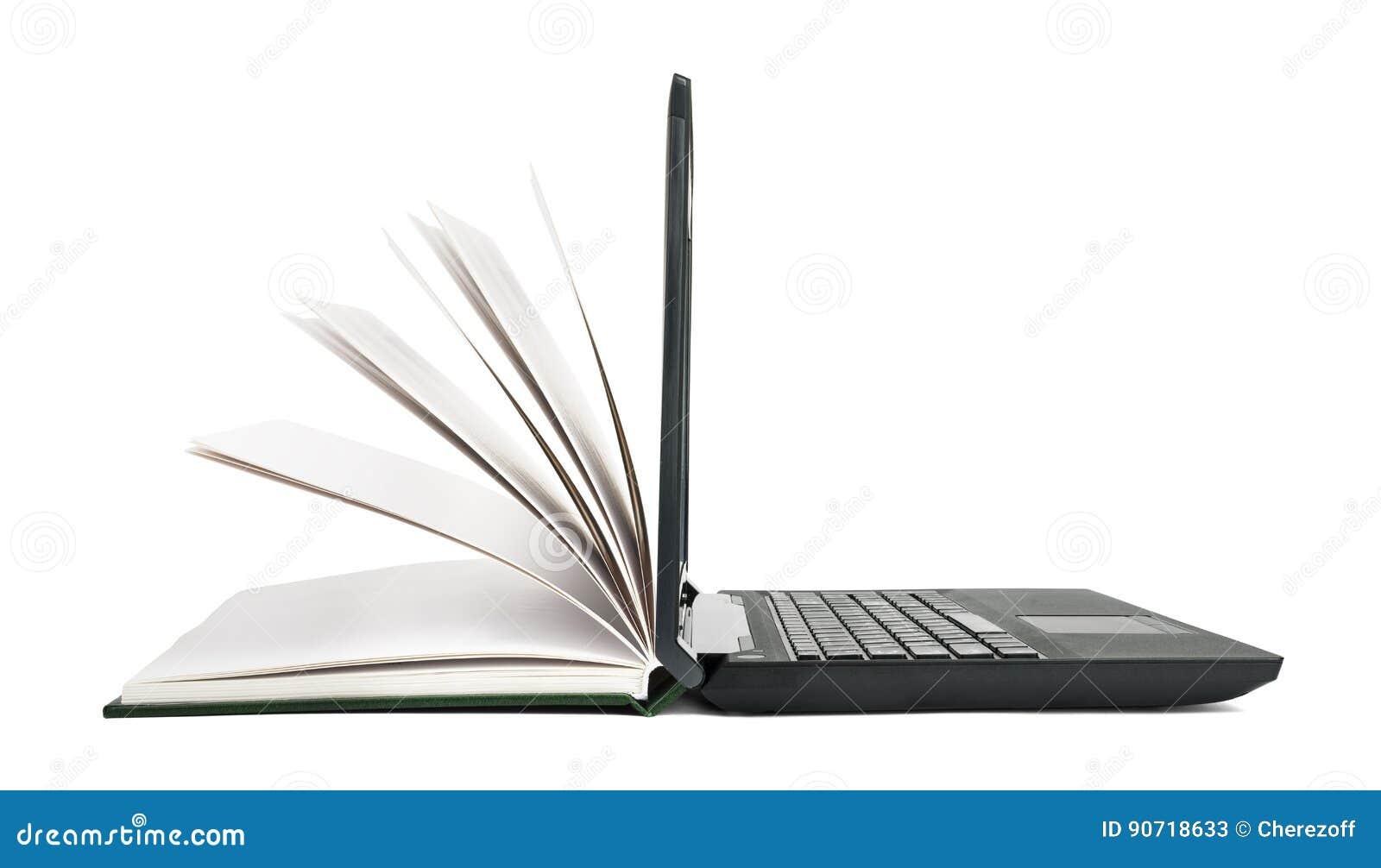 Open boekdraaien in open laptop