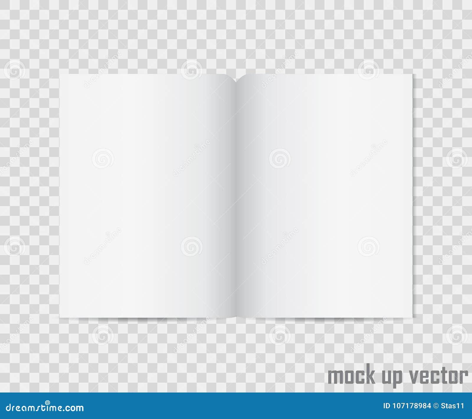 Open boekspot omhoog op transparante achtergrond Realistisch leeg verticaal boekje, catalogusmalplaatje, tijdschrift, brochure of