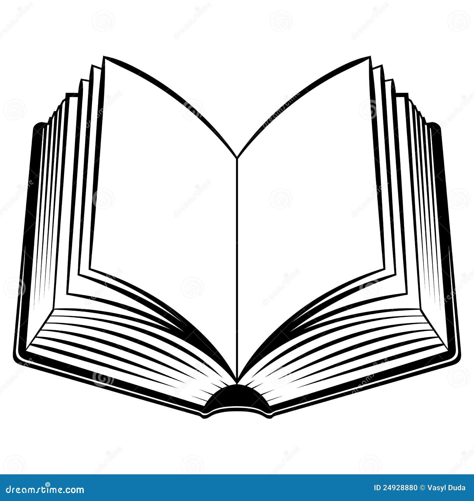 Open Book. Black and white illustration for design.