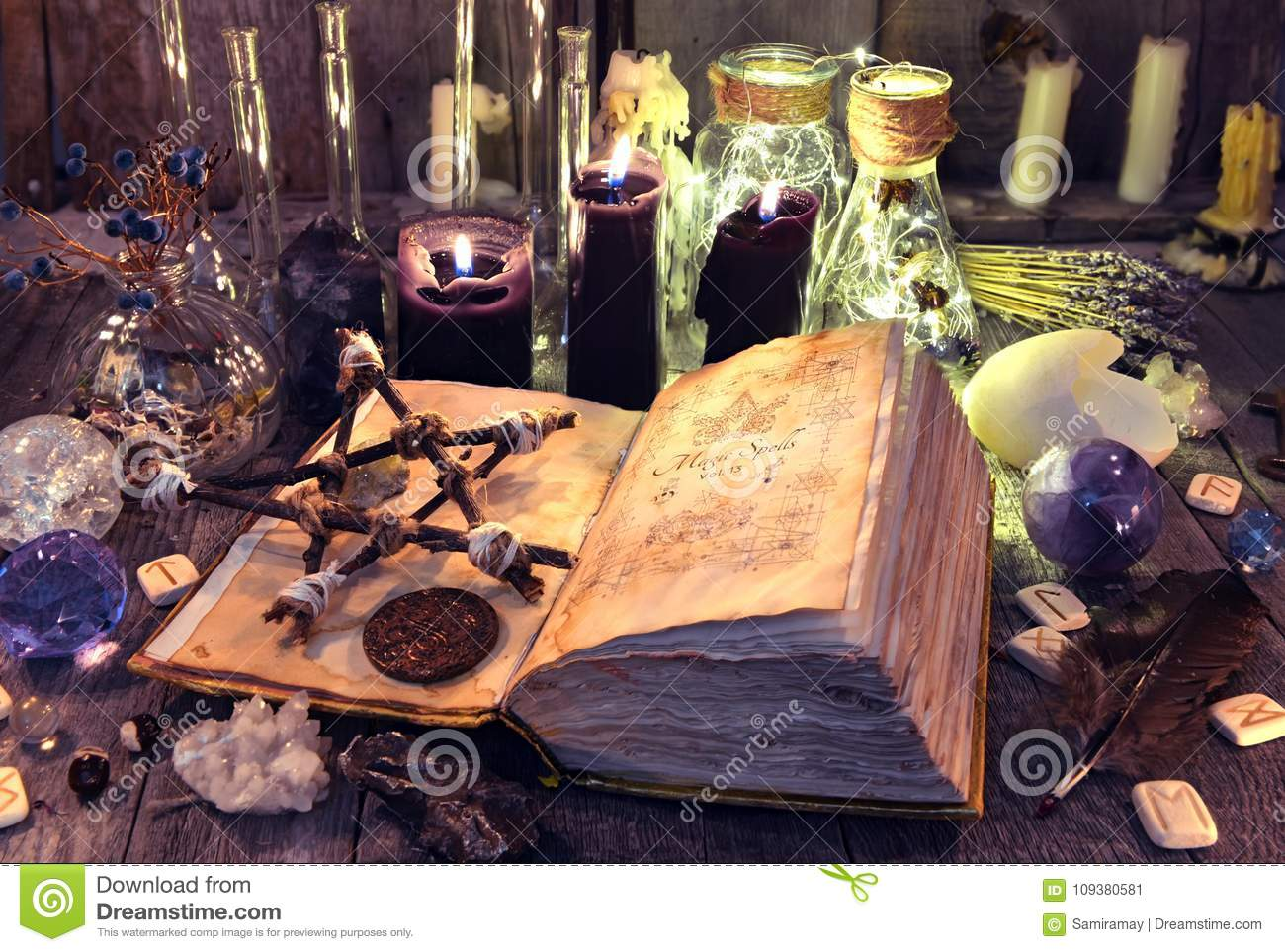 Open Book With Black Magic Spells, Pentagram, Ritual Objects