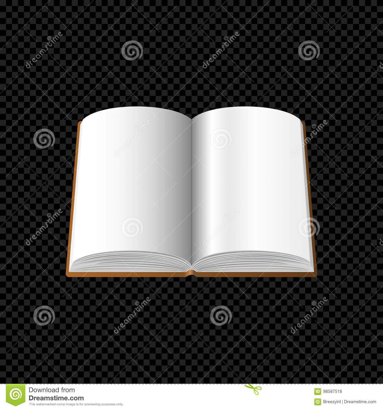 Open Book With Blank Pages Isolated On Transparent Background Stock