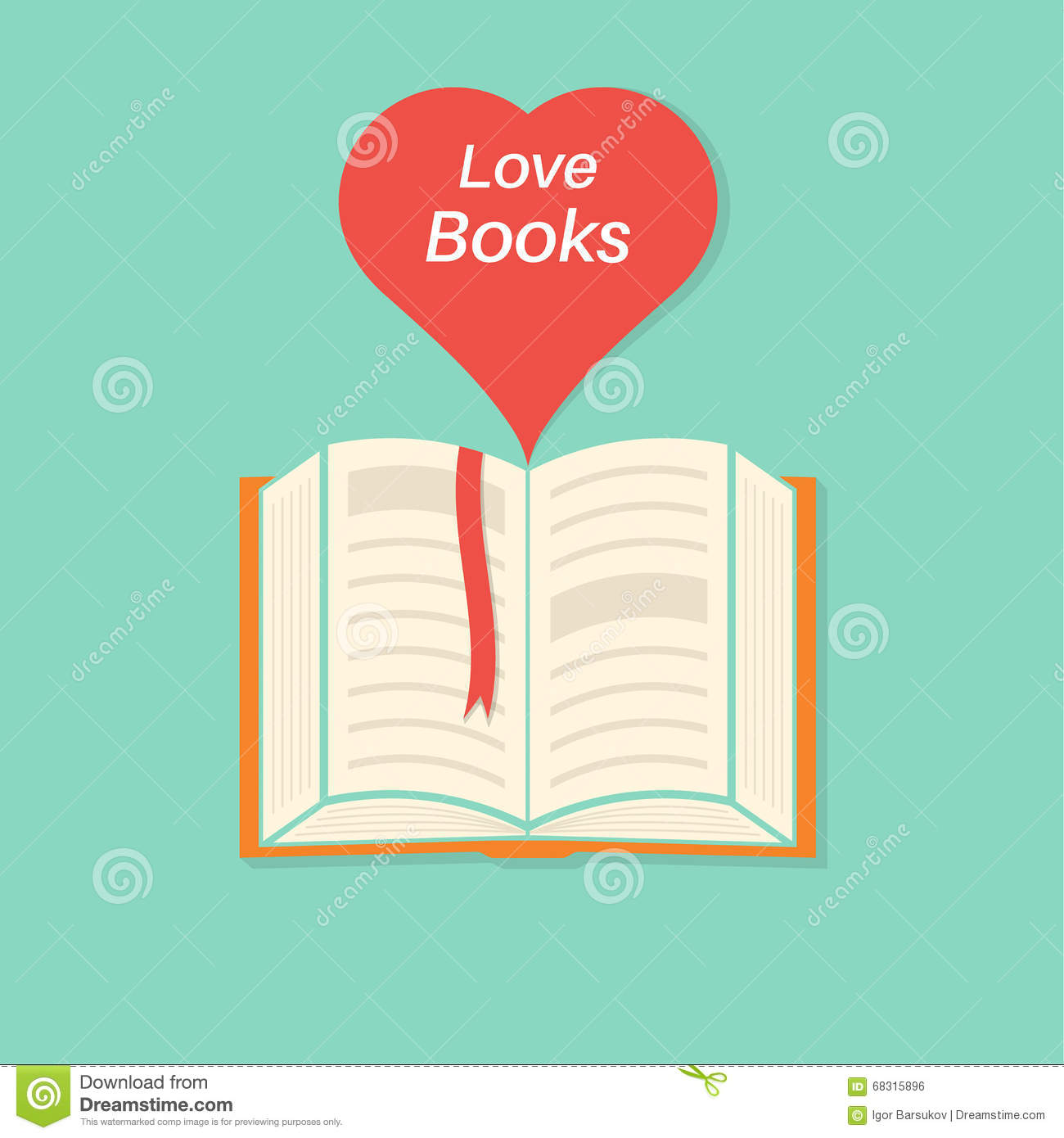 Open book with a bookmark and heart stock vector illustration of open book with a bookmark and heart buycottarizona Gallery