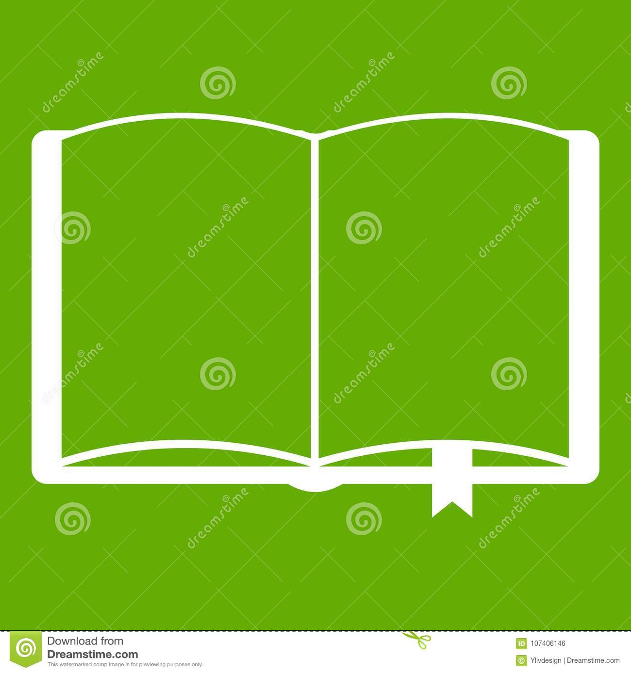 open book with bookmark icon green stock vector - illustration of