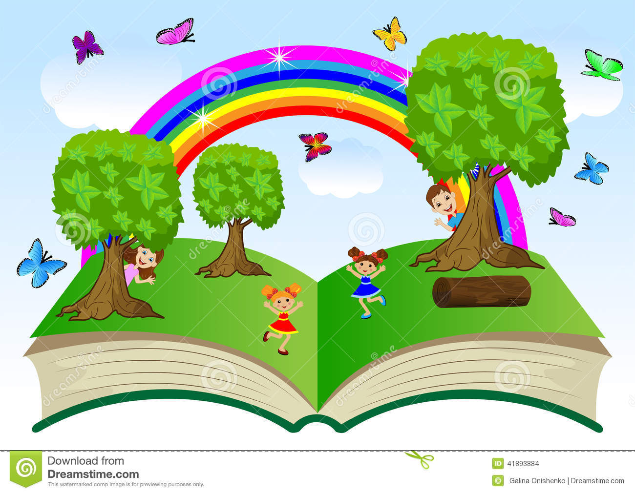 Children Book Cover Vector : Open book with children and summer landscape stock vector